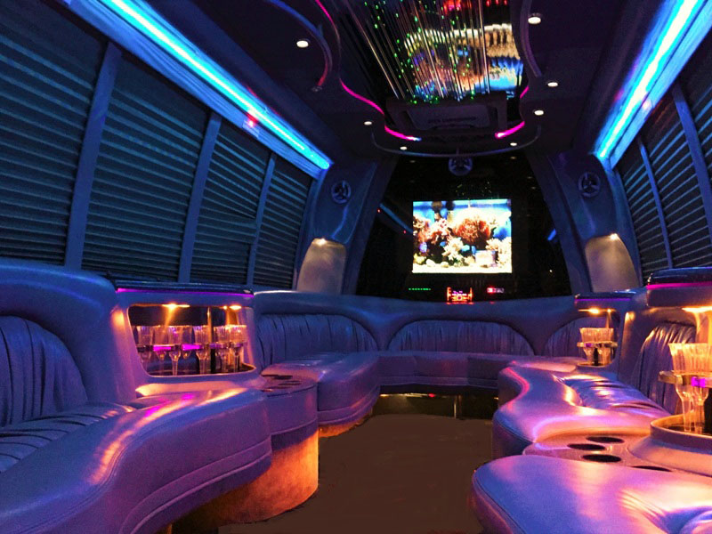 Ultimate 6 Krystal Limo Party Bus Interior